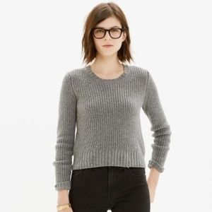 Madewell Gray Crop Pullover Merino Wool Sweater